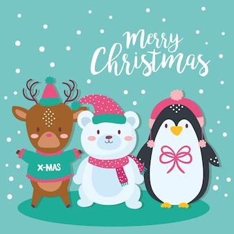 Carte de joyeux noël mignon avec conception d'illustration animaux mignons