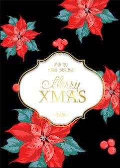 Carte de joyeux noël avec motif de fleurs de poinsettia
