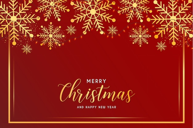 Carte de joyeux noël et nouvel an avec flocons de neige et modèle de cadre doré