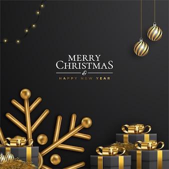 Carte de joyeux noël et nouvel an noir et doré avec décoration réaliste