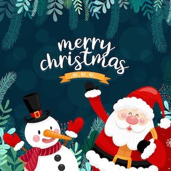 Carte de joyeux noël avec père noël, bonhomme de neige et boîte-cadeau.