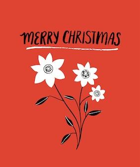 Carte de joyeux noël rouge avec texte de lettrage à la main et branche de fleurs blanches. conception de carte de voeux de style art populaire. affiche de vecteur avec des souhaits de vacances d'hiver.