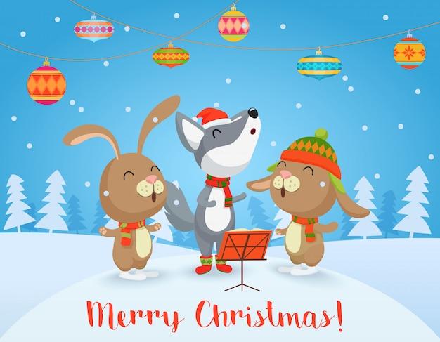 Carte de joyeux noël de vecteur avec des amis mignons de loups et lapins chantent des chansons ensemble.
