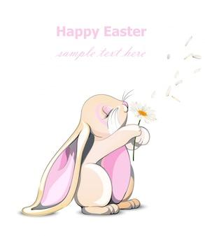 Carte de joyeux pâques lapin