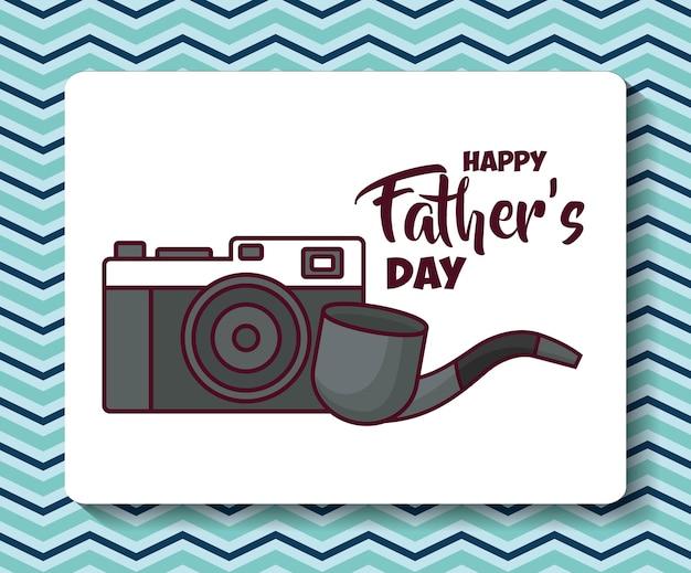 Carte de joyeux père jour avec caméra et icône de la pipe