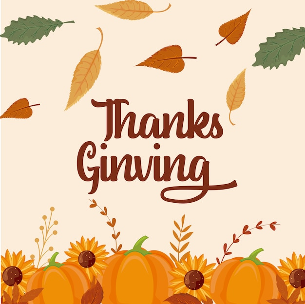Carte de joyeux thanksgiving et citrouilles