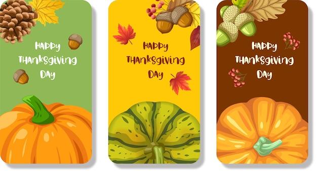 Carte de joyeux thanksgiving day ou dépliant avec citrouille, maïs, noix, feuilles et pommes de pin séchées