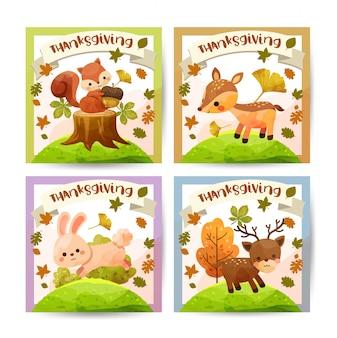 Carte de joyeux thanksgiving day avec écureuil, ours, lapin et cerf.