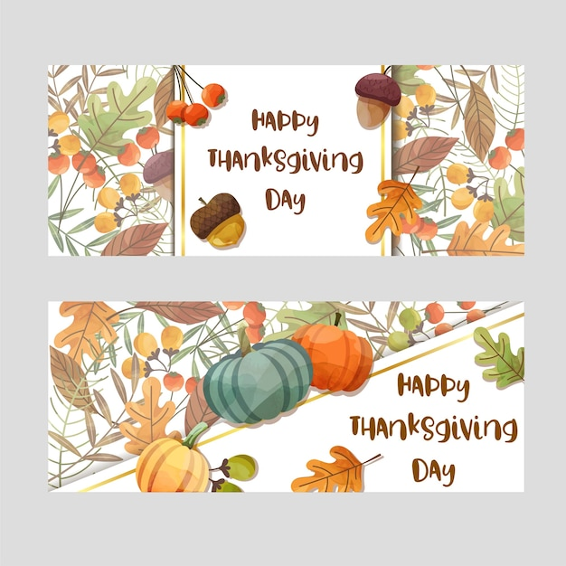 Carte de joyeux thanksgiving day avec feuille d'érable et citrouille.