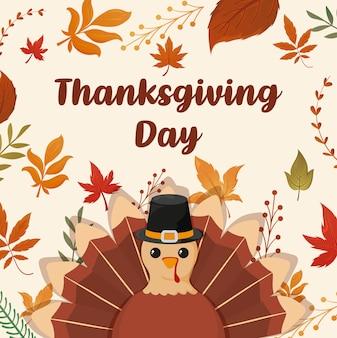 Carte de joyeux thanksgiving et dinde de bande dessinée