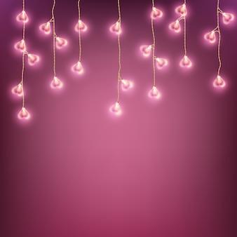 Carte de lampe happy valentines day garland. et comprend également