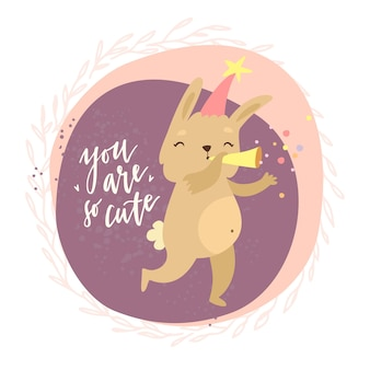Carte avec lapin et vous êtes si mignon lettrage