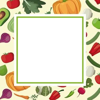 Carte de légumes frais ingrédients
