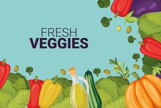 Carte De Légumes Frais Vecteur Premium