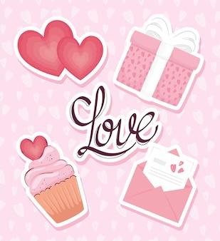 Carte de lettrage d'amour avec illustration d'icônes définies