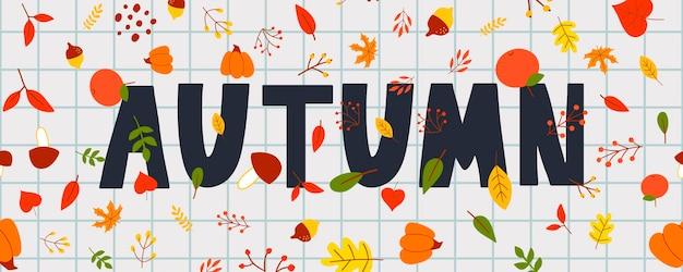 Carte de lettrage automne illustration bannière vecteur automne