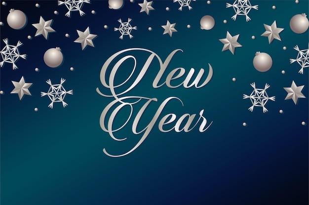 Carte de lettrage de bonne année avec illustration d'étoiles et de boules d'argent