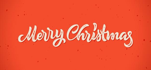 Carte de lettrage dessiné à la main calligraphie joyeux noël avec style d'impression typographique vintage hipster pour les vacances de noël hiver