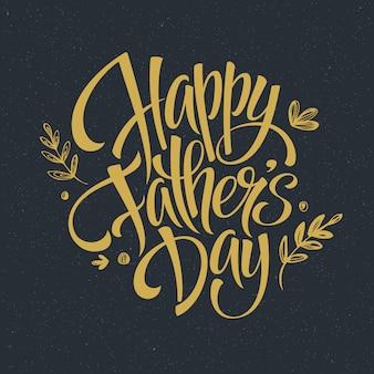 Carte de lettrage doré fête des pères.