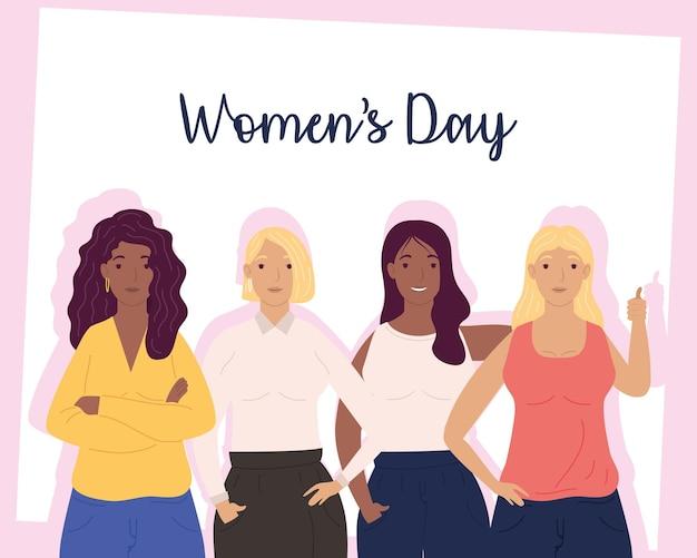 Carte de lettrage happy womens day avec groupe d'illustration de filles de diversité