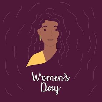 Carte de lettrage happy womens day avec illustration de caractère femme afro