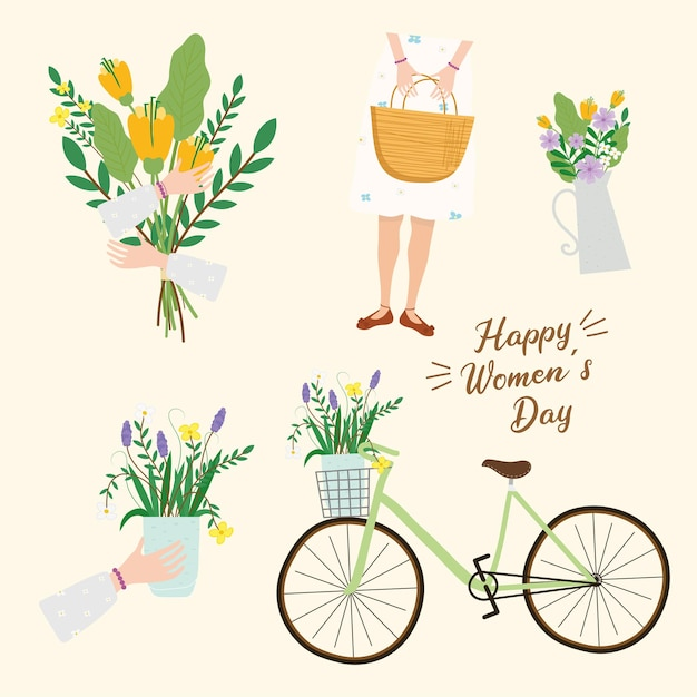 Carte de lettrage happy womens day avec illustration femme et vélo