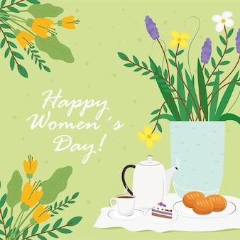 Carte de lettrage happy womens day avec illustration de petit déjeuner et de fleurs