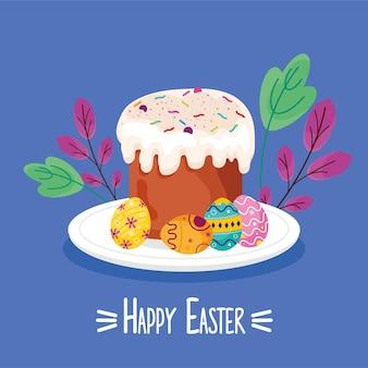 Carte de lettrage joyeuses pâques avec cupcake sucré et oeufs peints en illustration de plat