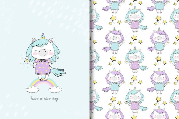 Carte de licorne de petite fille et modèle sans couture