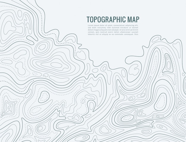 Carte de la ligne de contour. contour d'élévation contour texture de cartographie. carte topographique en relief
