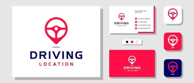 Carte de localisation de direction navigation pour conducteur de voiture recherche de conception de logo avec carte de visite de modèle de mise en page