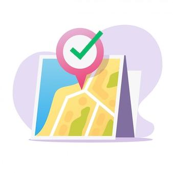 Carte de localisation gps et pointeur d'épingle destination icône vecteur papier avec marqueur de position de navigation