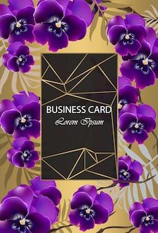 Carte de luxe avec des fleurs d'orchidées vector. belle illustration pour le livre de marque, carte de visite ou une affiche. fond d'or. place aux textes