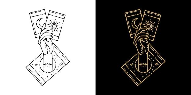 Carte à la main avec la conception de monoline de tatouage de soleil et de lune de carte