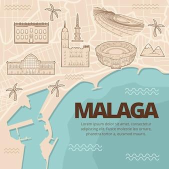 Carte de malaga dessinée à la main créative