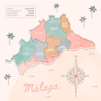 Carte de malaga peinte à l'aquarelle