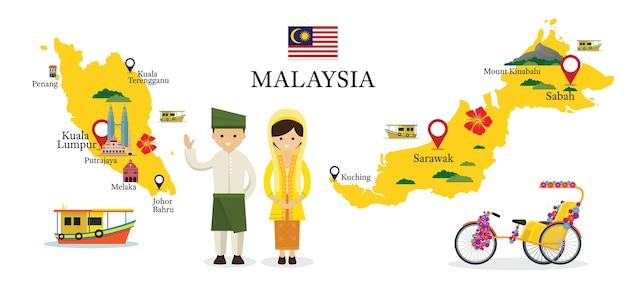 Carte de la malaisie et points de repère avec des personnes en vêtements traditionnels