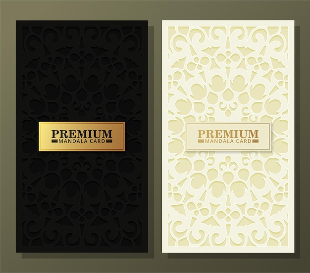 Carte de mandala de fond sombre de luxe