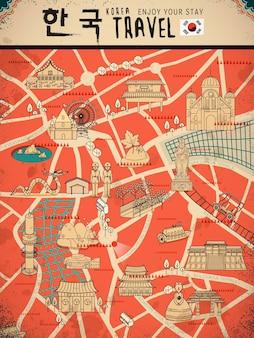 Carte de marche attrayante de la corée du sud dans un style rétro - corée en mots coréens en haut