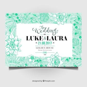 Carte de mariage aquamarine