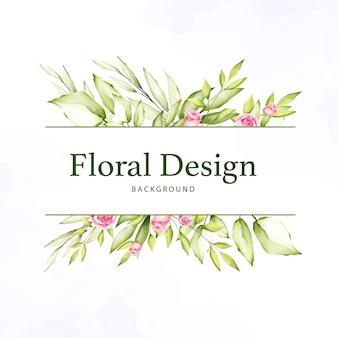 Carte de mariage aquarelle floral et feuilles