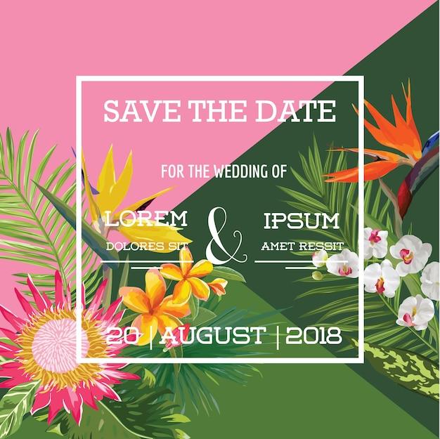 Carte de mariage en bannière d'été de fleurs tropicales, invitation florale exotique, réservez la date