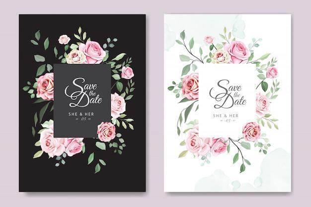 Carte de mariage avec beau modèle floral