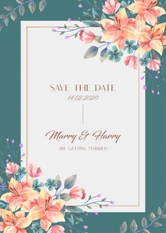Carte de mariage avec bouquet de fleurs de lys orange aquarelle