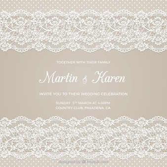 Carte de mariage avec broderie