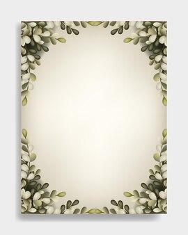 Carte de mariage avec cadre flore