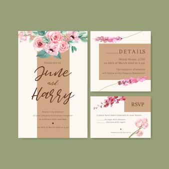 Carte de mariage de charme floral avec anémone, lupins, illustration aquarelle rose.