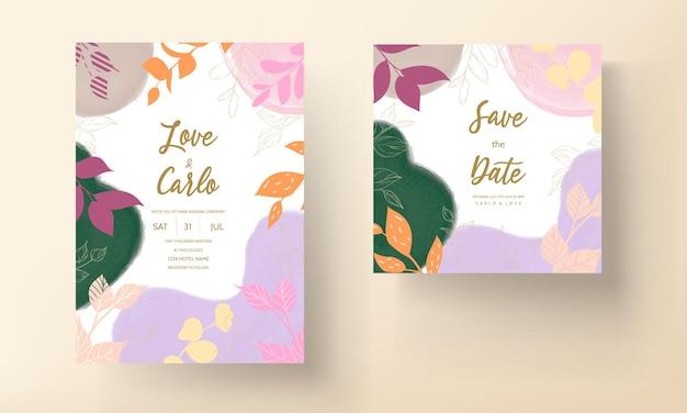 Carte de mariage colorée avec ornement floral plat