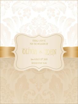 Carte de mariage avec damassé et éléments floraux élégants.