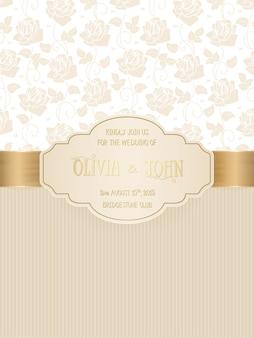 Carte de mariage avec damassé et éléments floraux élégants